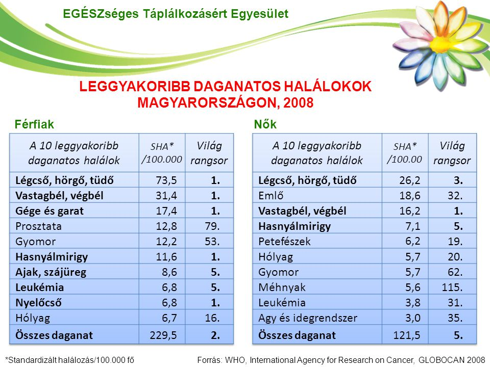 EGÉSZséges Táplálkozásért Egyesület *Standardizált halálozás/100.000 főForrás: WHO, International Agency for Research on Cancer, GLOBOCAN 2008 Férfiak