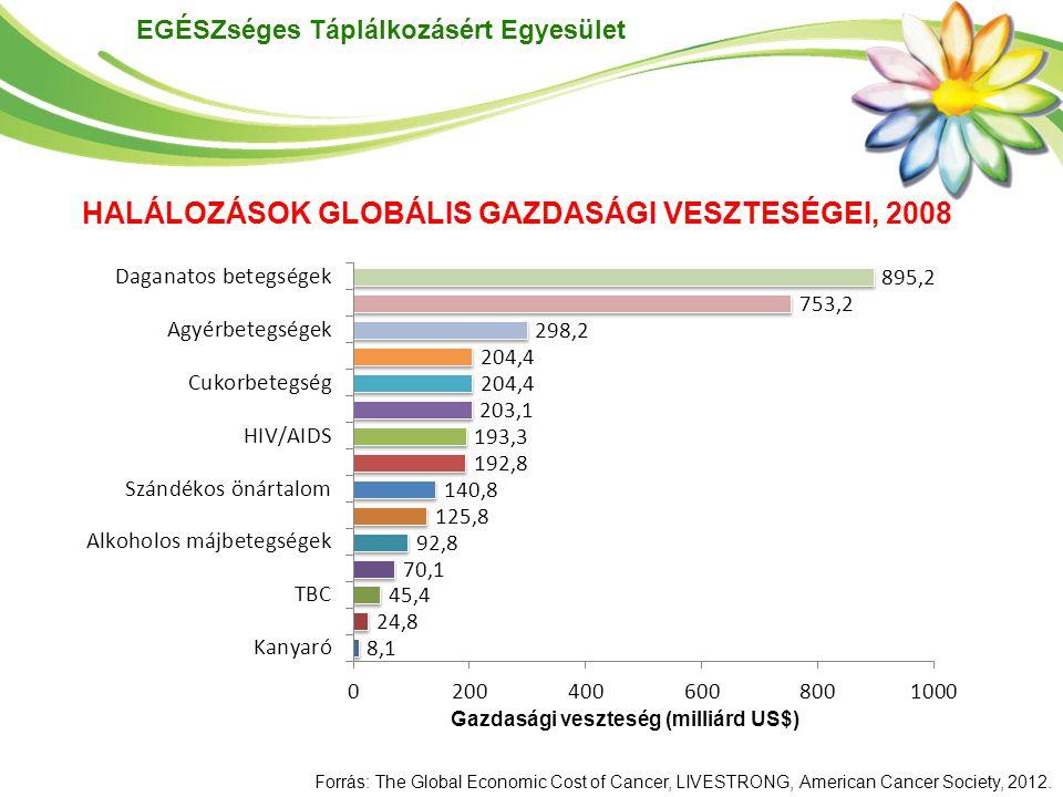 EGÉSZséges Táplálkozásért Egyesület A daganatos betegségek miatti korai halálozás és korlátozottság (DALY) 895 milliárd US$ gazdasági veszteséget (GDP 1,5%) okozott a világon 2008-ban, amely nem tartalmazza a kezelések direkt költségeit A világon az összes halálozás közül a legnagyobb gazdasági veszteséget a daganatos betegségek okozzák, mintegy 20%-kal nagyobbat, mint a 2.