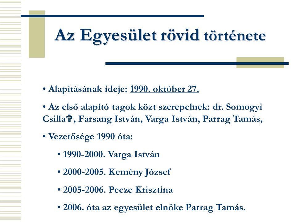 Az Egyesület rövid története Alapításának ideje: 1990. október 27. Az első alapító tagok közt szerepelnek: dr. Somogyi Csilla , Farsang István, Varga