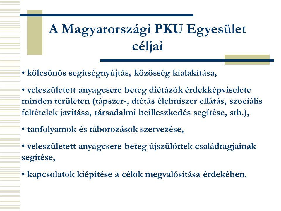 A Magyarországi PKU Egyesület céljai kölcsönös segítségnyújtás, közösség kialakítása, veleszületett anyagcsere beteg diétázók érdekképviselete minden