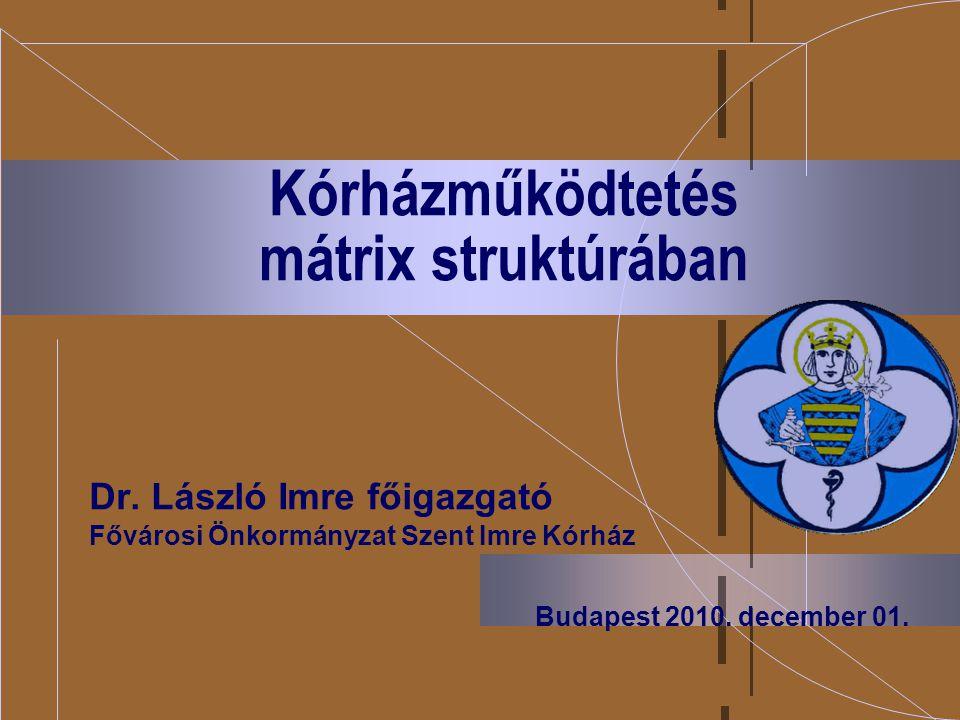 Kórházműködtetés mátrix struktúrában Dr. László Imre főigazgató Fővárosi Önkormányzat Szent Imre Kórház Budapest 2010. december 01.