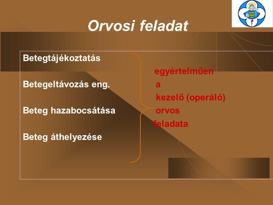 Orvosi feladat Betegtájékoztatás egyértelműen Betegeltávozás eng. a kezelő (operáló) Beteg hazabocsátása orvos feladata Beteg áthelyezése