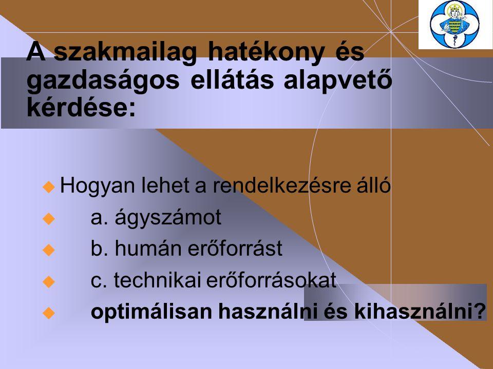 A szakmailag hatékony és gazdaságos ellátás alapvető kérdése:  Hogyan lehet a rendelkezésre álló  a. ágyszámot  b. humán erőforrást  c. technikai