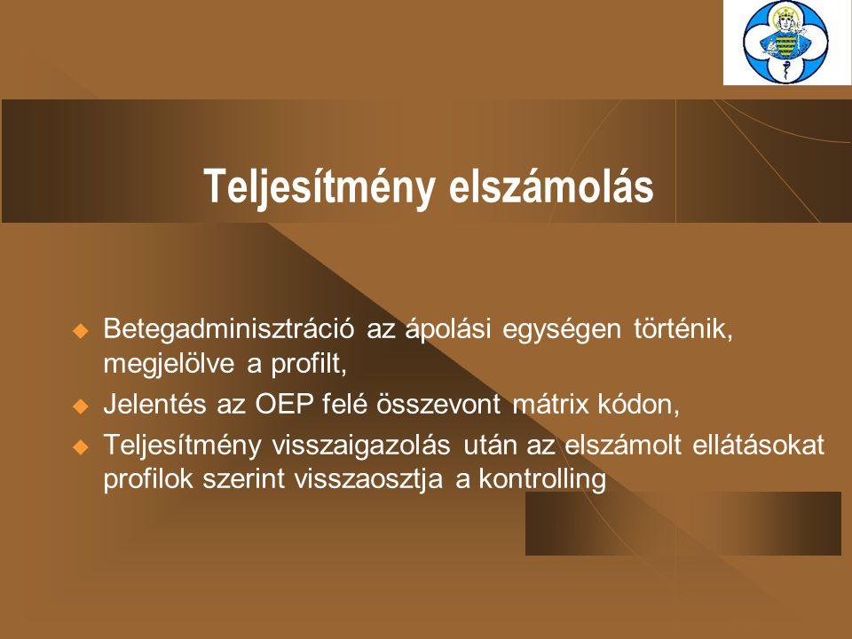 Teljesítmény elszámolás  Betegadminisztráció az ápolási egységen történik, megjelölve a profilt,  Jelentés az OEP felé összevont mátrix kódon,  Tel
