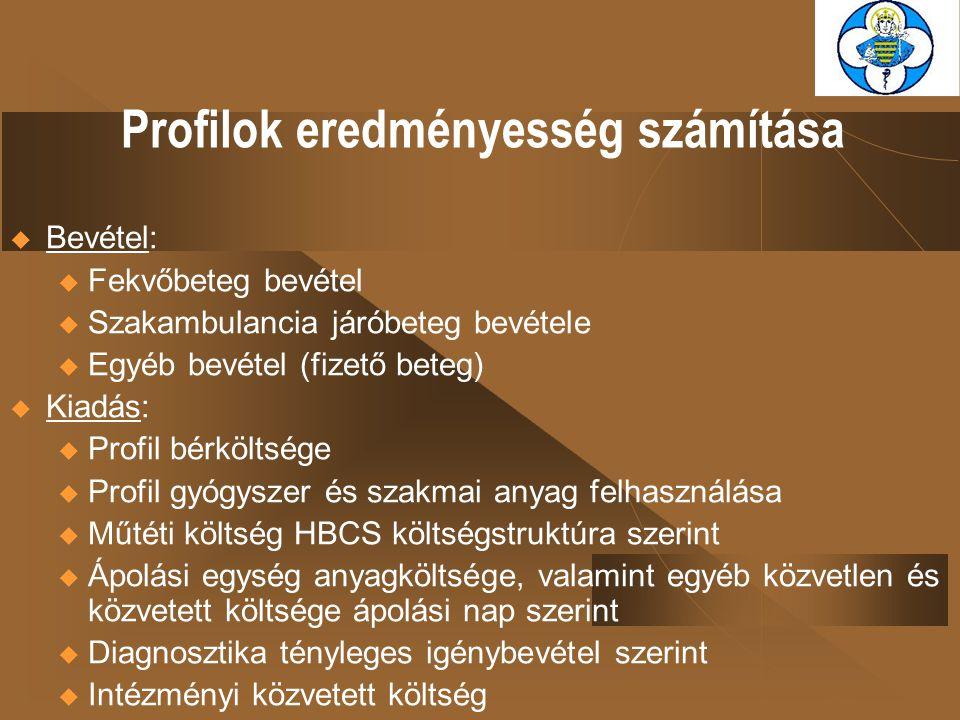 Profilok eredményesség számítása  Bevétel: u Fekvőbeteg bevétel u Szakambulancia járóbeteg bevétele u Egyéb bevétel (fizető beteg)  Kiadás: u Profil