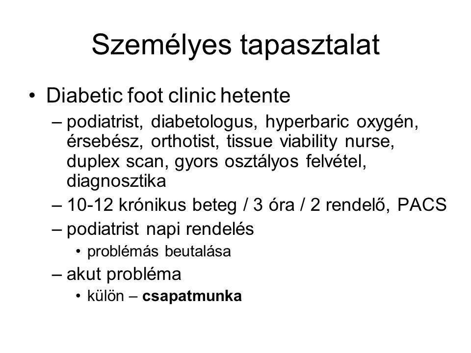 Személyes tapasztalat Diabetic foot clinic hetente –podiatrist, diabetologus, hyperbaric oxygén, érsebész, orthotist, tissue viability nurse, duplex scan, gyors osztályos felvétel, diagnosztika –10-12 krónikus beteg / 3 óra / 2 rendelő, PACS –podiatrist napi rendelés problémás beutalása –akut probléma külön – csapatmunka