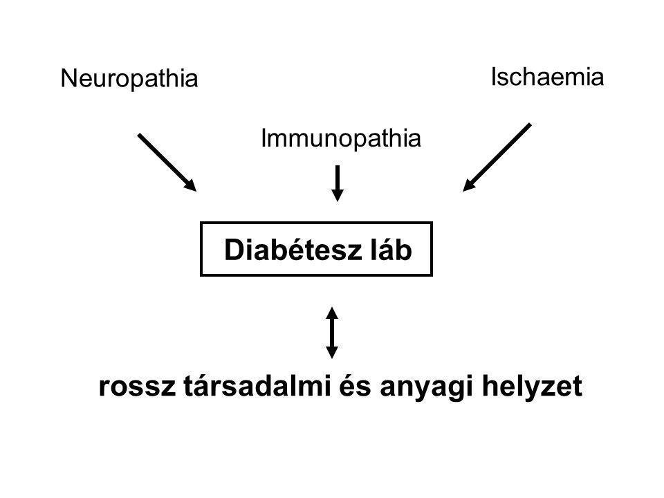Diabétesz láb Neuropathia Ischaemia Immunopathia rossz társadalmi és anyagi helyzet