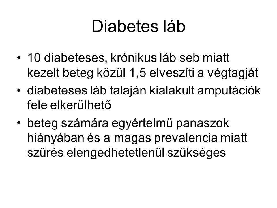 Diabetes láb 10 diabeteses, krónikus láb seb miatt kezelt beteg közül 1,5 elveszíti a végtagját diabeteses láb talaján kialakult amputációk fele elkerülhető beteg számára egyértelmű panaszok hiányában és a magas prevalencia miatt szűrés elengedhetetlenül szükséges