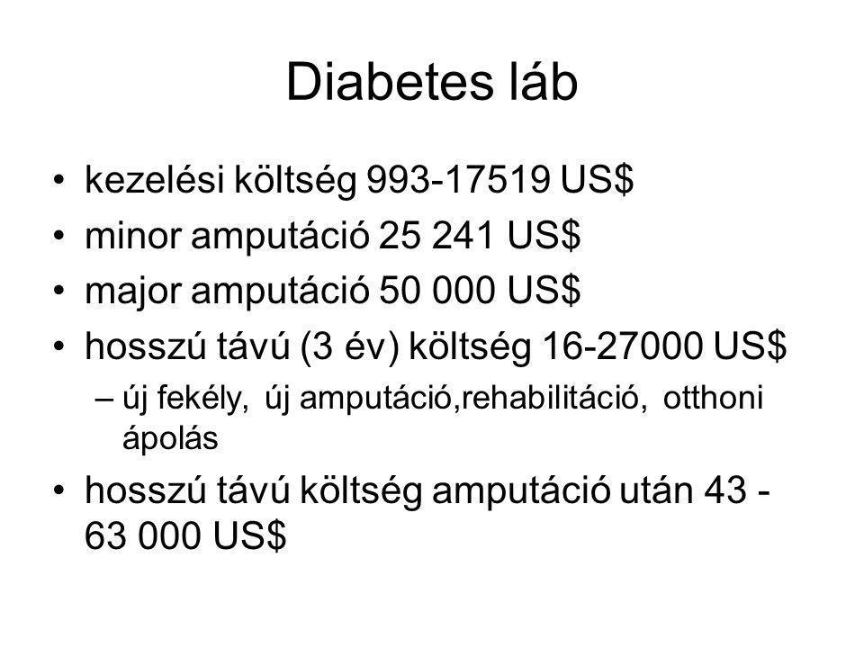 Diabetes láb kezelési költség 993-17519 US$ minor amputáció 25 241 US$ major amputáció 50 000 US$ hosszú távú (3 év) költség 16-27000 US$ –új fekély, új amputáció,rehabilitáció, otthoni ápolás hosszú távú költség amputáció után 43 - 63 000 US$