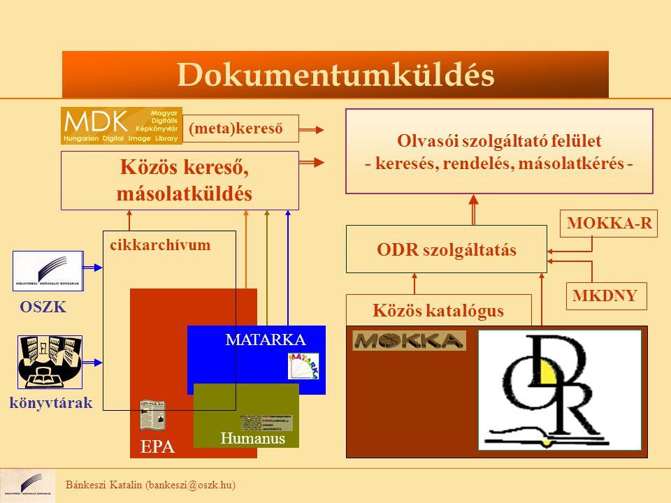 Bánkeszi Katalin (bankeszi@oszk.hu) Dokumentumküldés Közös kereső, másolatküldés Közös katalógus ODR szolgáltatás Olvasói szolgáltató felület - keresés, rendelés, másolatkérés - (meta)kereső OSZK könyvtárak EPA MATARKA Humanus cikkarchívum MKDNY MOKKA-R