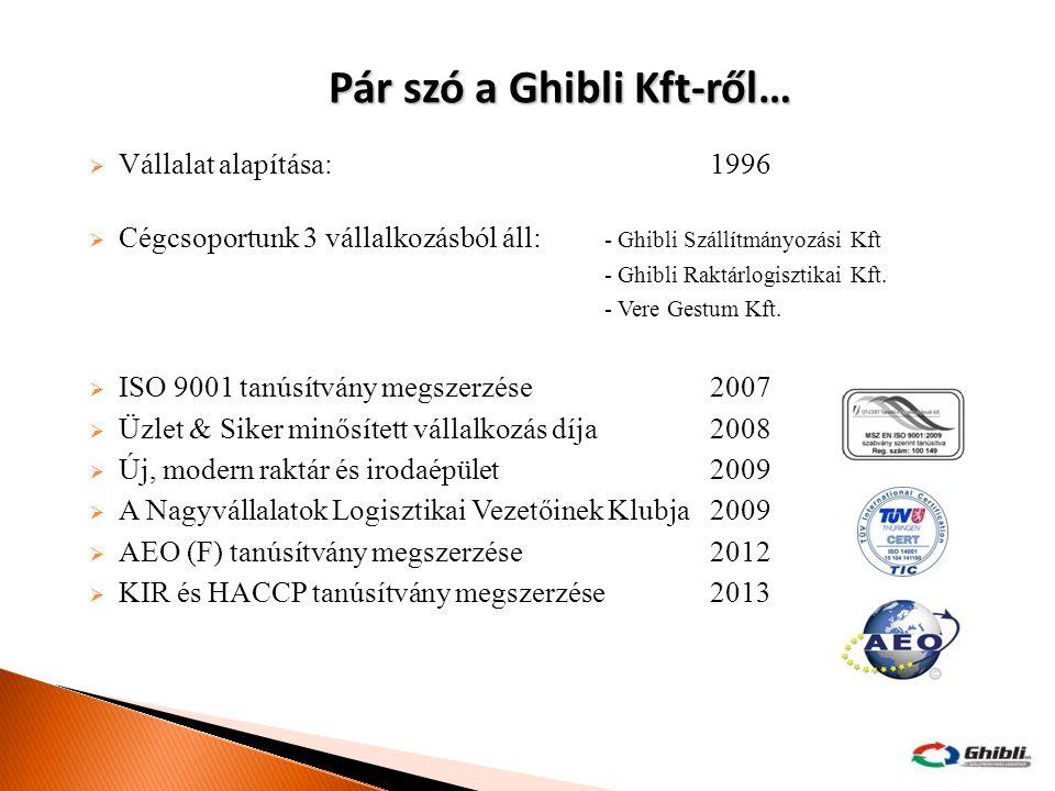  Vállalat alapítása:1996  Cégcsoportunk 3 vállalkozásból áll: - Ghibli Szállítmányozási Kft - Ghibli Raktárlogisztikai Kft. - Vere Gestum Kft.  ISO
