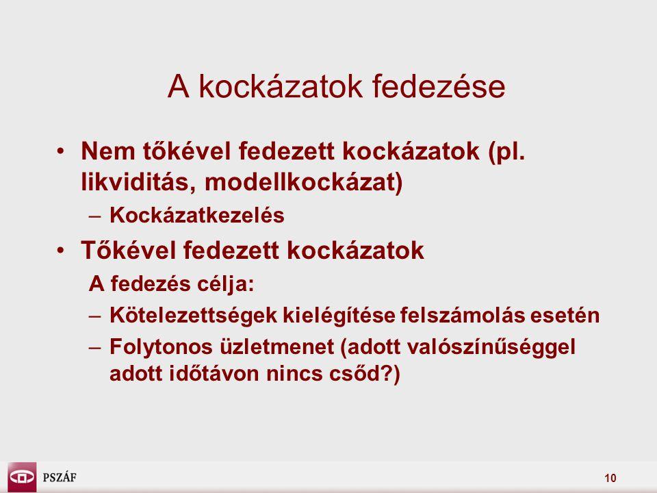 10 A kockázatok fedezése Nem tőkével fedezett kockázatok (pl.