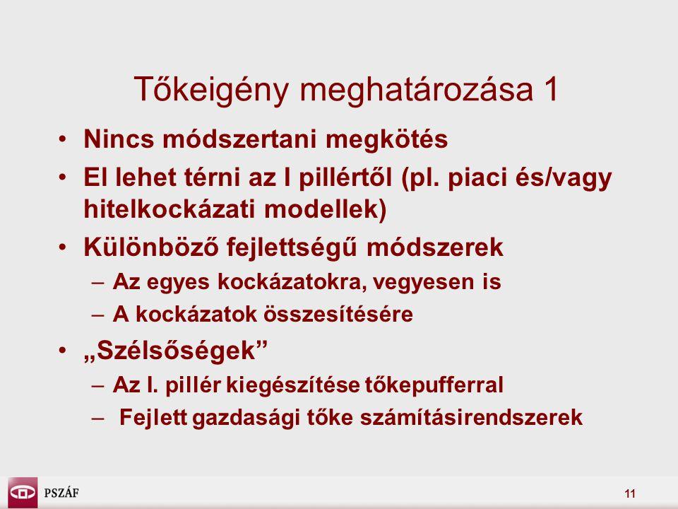 11 Tőkeigény meghatározása 1 Nincs módszertani megkötés El lehet térni az I pillértől (pl.