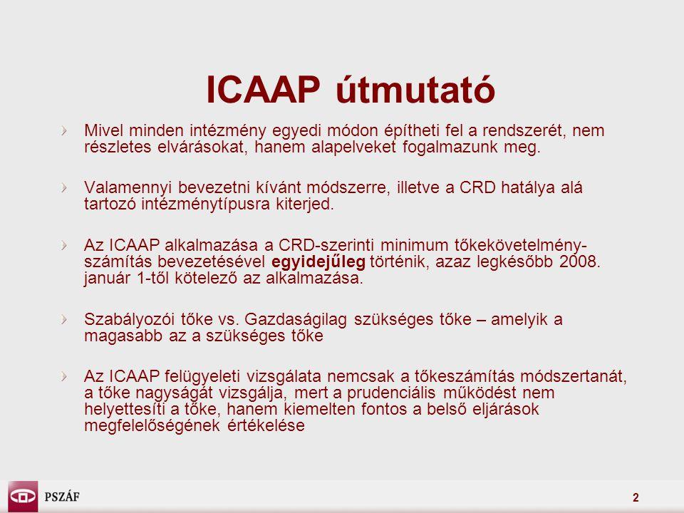 2 ICAAP útmutató Mivel minden intézmény egyedi módon építheti fel a rendszerét, nem részletes elvárásokat, hanem alapelveket fogalmazunk meg.