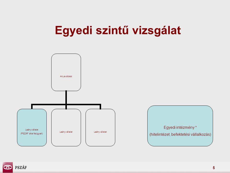 5 Egyedi szintű vizsgálat Anyavállalat Leányvállalat (PSZÁF által felügyelt) Leányvállalat Egyedi intézmény * (hitelintézet, befektetési vállalkozás)