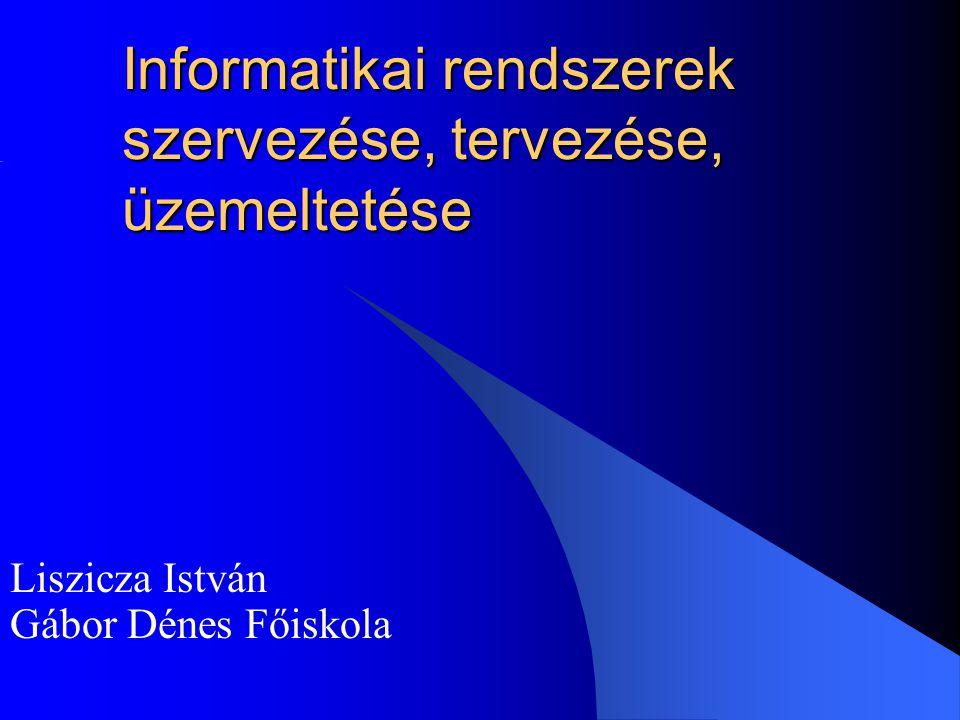 Informatikai rendszerek szervezése, tervezése, üzemeltetése Liszicza István Gábor Dénes Főiskola