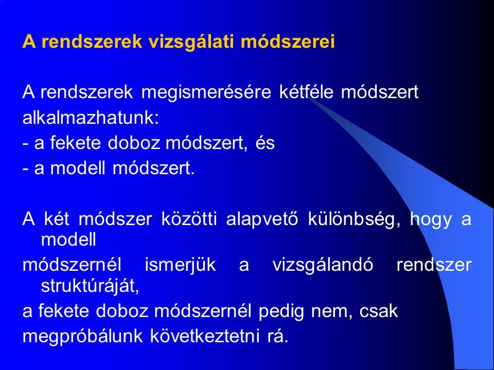 A rendszerek vizsgálati módszerei A rendszerek megismerésére kétféle módszert alkalmazhatunk: - a fekete doboz módszert, és - a modell módszert.