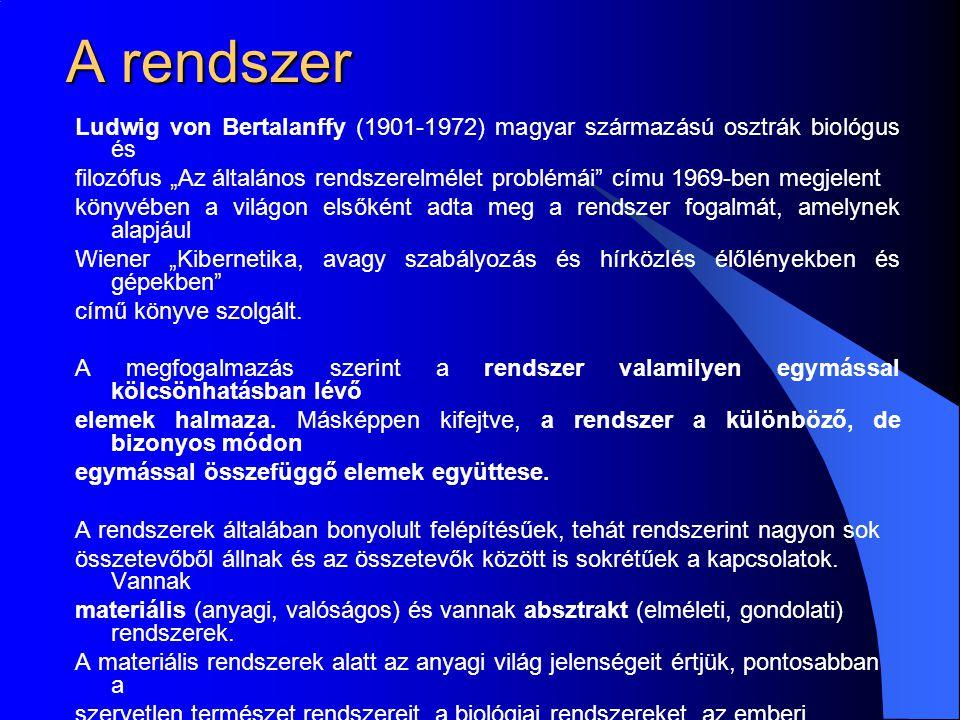 """A rendszer Ludwig von Bertalanffy (1901-1972) magyar származású osztrák biológus és filozófus """"Az általános rendszerelmélet problémái címu 1969-ben megjelent könyvében a világon elsőként adta meg a rendszer fogalmát, amelynek alapjául Wiener """"Kibernetika, avagy szabályozás és hírközlés élőlényekben és gépekben című könyve szolgált."""