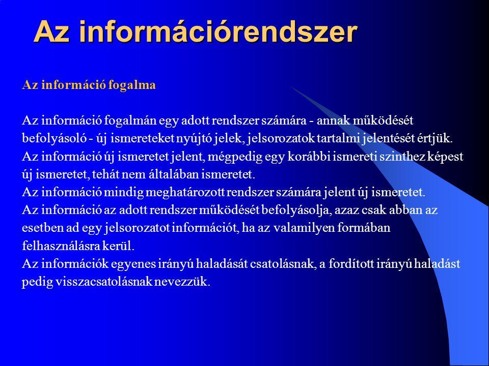Az információrendszer Az információ fogalma Az információ fogalmán egy adott rendszer számára - annak működését befolyásoló - új ismereteket nyújtó jelek, jelsorozatok tartalmi jelentését értjük.