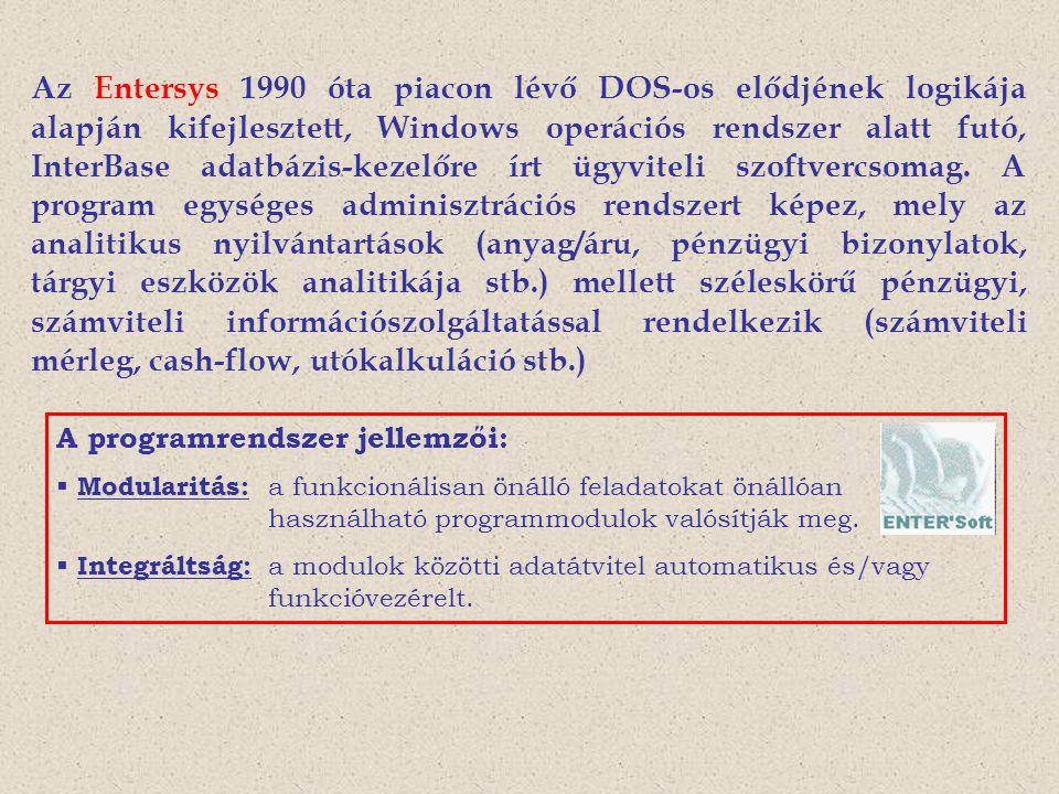 Az Entersys 1990 óta piacon lévő DOS-os elődjének logikája alapján kifejlesztett, Windows operációs rendszer alatt futó, InterBase adatbázis-kezelőre
