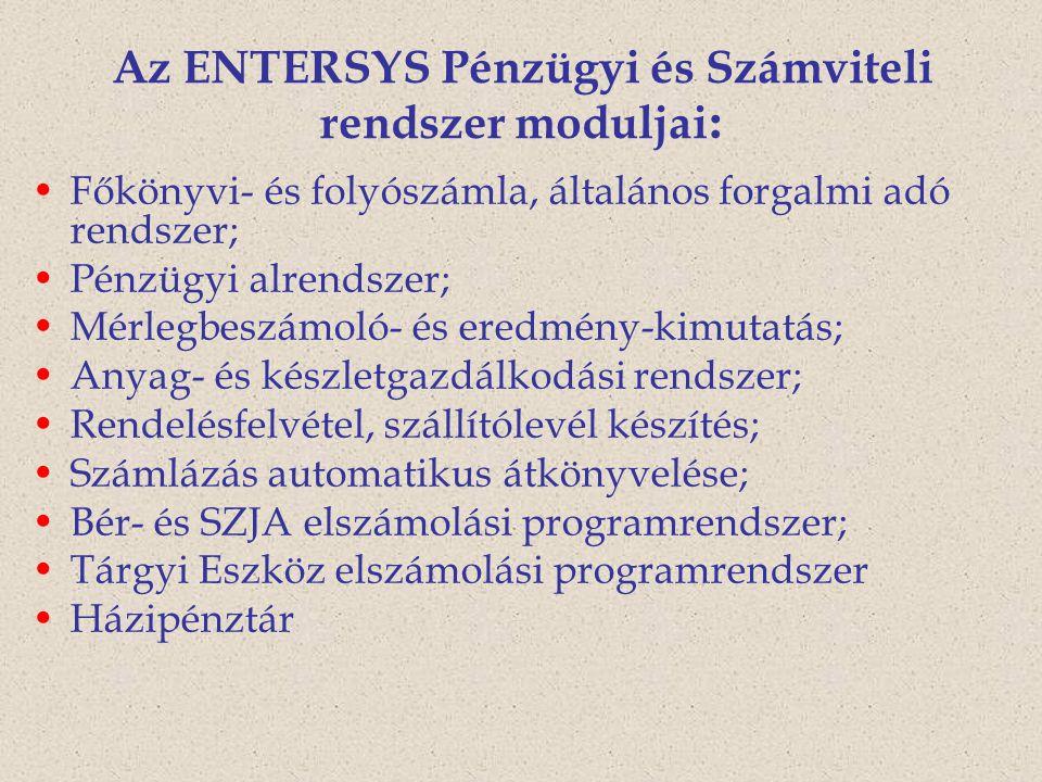 Az ENTERSYS Pénzügyi és Számviteli rendszer moduljai : Főkönyvi- és folyószámla, általános forgalmi adó rendszer; Pénzügyi alrendszer; Mérlegbeszámoló- és eredmény-kimutatás; Anyag- és készletgazdálkodási rendszer; Rendelésfelvétel, szállítólevél készítés; Számlázás automatikus átkönyvelése; Bér- és SZJA elszámolási programrendszer; Tárgyi Eszköz elszámolási programrendszer Házipénztár