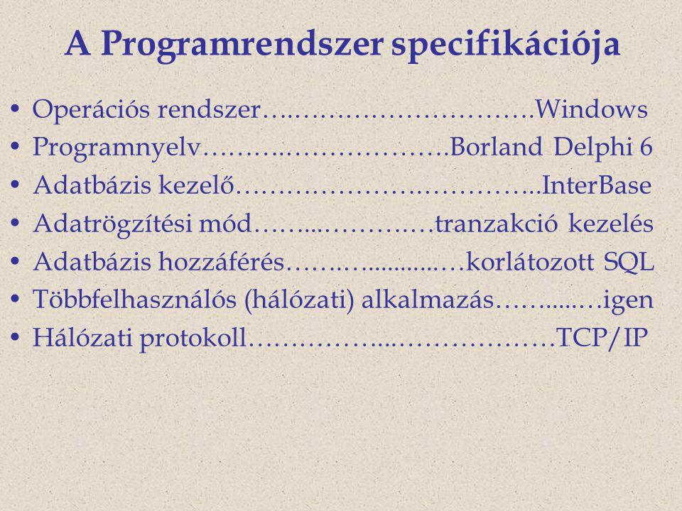 A Programrendszer specifikációja Operációs rendszer….……………………….Windows Programnyelv……….……………….Borland Delphi 6 Adatbázis kezelő………………….…………..InterBase Adatrögzítési mód……...……….…tranzakció kezelés Adatbázis hozzáférés…….…...........…korlátozott SQL Többfelhasználós (hálózati) alkalmazás…….....…igen Hálózati protokoll……………...………………TCP/IP