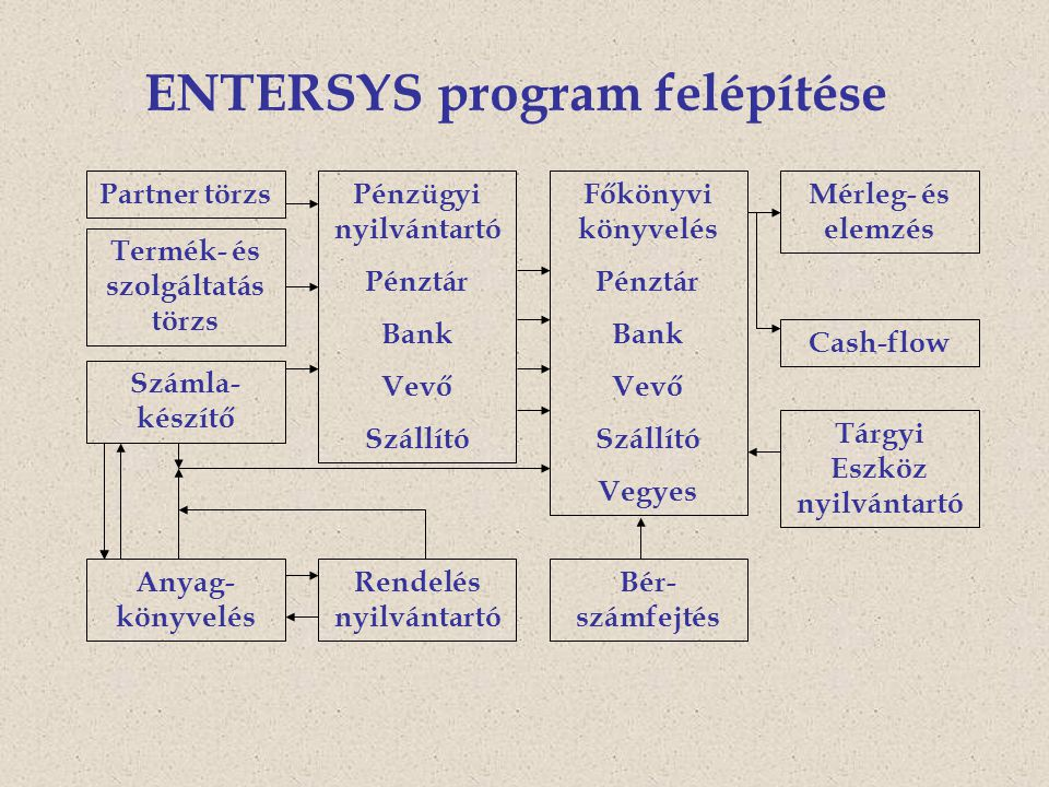 ENTERSYS program felépítése Partner törzs Számla- készítő Pénzügyi nyilvántartó Pénztár Bank Vevő Szállító Anyag- könyvelés Rendelés nyilvántartó Főkönyvi könyvelés Pénztár Bank Vevő Szállító Vegyes Mérleg- és elemzés Tárgyi Eszköz nyilvántartó Bér- számfejtés Termék- és szolgáltatás törzs Cash-flow