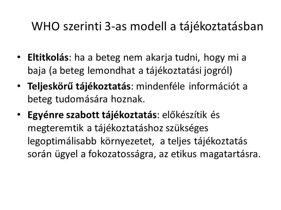 WHO szerinti 3-as modell a tájékoztatásban Eltitkolás: ha a beteg nem akarja tudni, hogy mi a baja (a beteg lemondhat a tájékoztatási jogról) Teljeskö