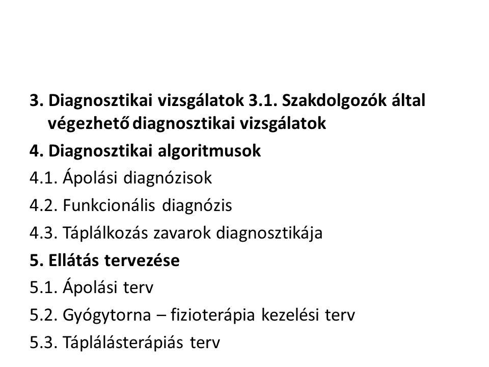 3. Diagnosztikai vizsgálatok 3.1. Szakdolgozók által végezhető diagnosztikai vizsgálatok 4. Diagnosztikai algoritmusok 4.1. Ápolási diagnózisok 4.2. F
