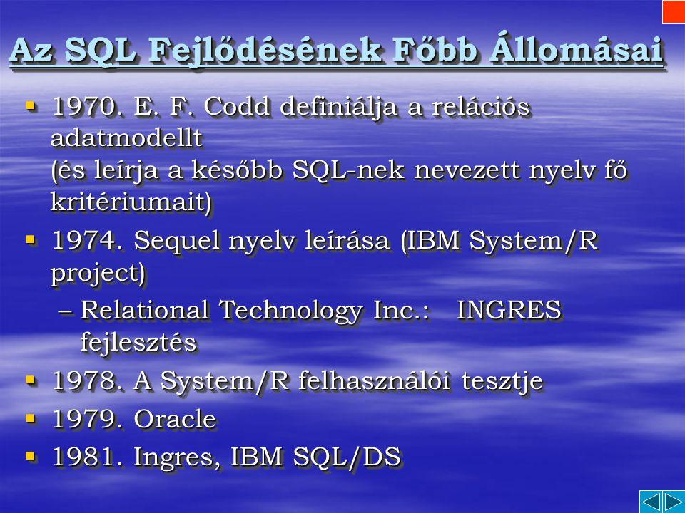 SQL S tructured Q uery L anguage A relációs adatbázis kezelés eszperantója
