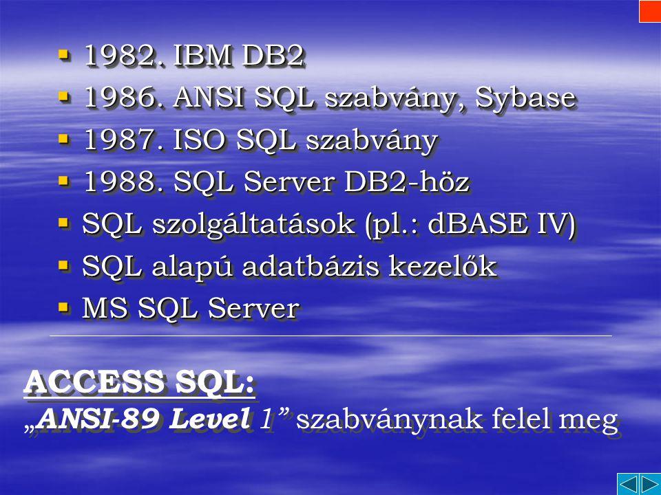 Az SQL Fejlődésének Főbb Állomásai  1970. E. F. Codd definiálja a relációs adatmodellt (és leírja a később SQL-nek nevezett nyelv fő kritériumait) 