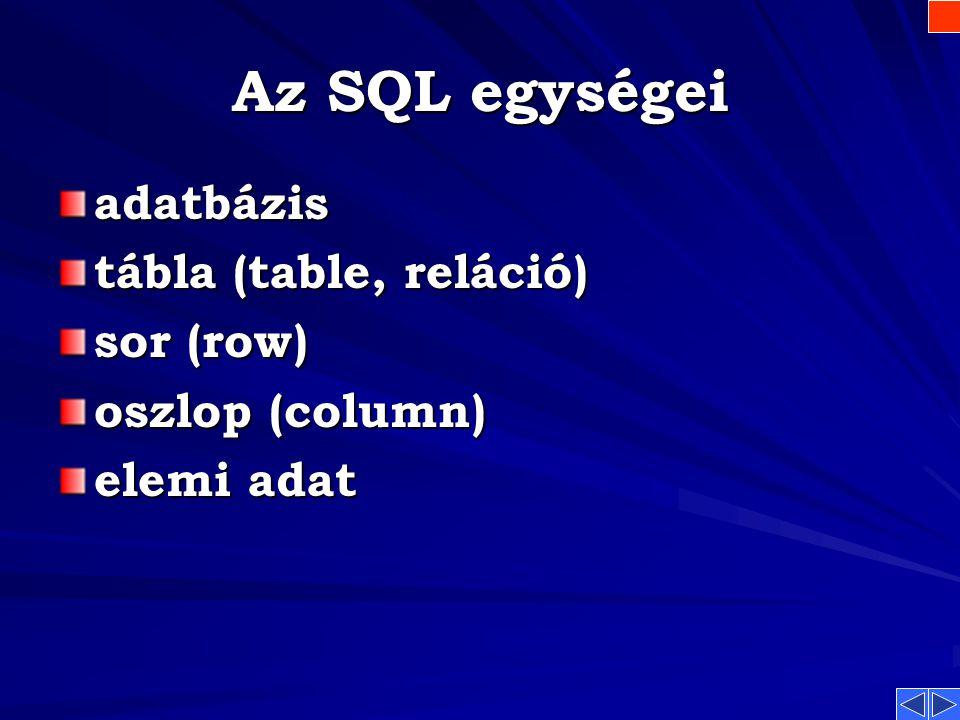 Az SQL jellemzői Az SQL jellemzői Szabványos, transzportibilis (átvihető rendszerek, gépek között) Nem algoritmikus, halmaz orientált Önálló nyelv, de