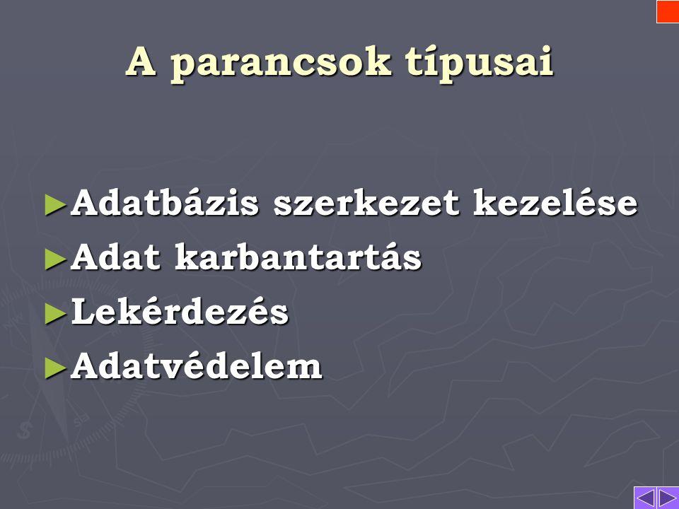 Parancs szintaxis PARANCS_KULCSSZÓ paraméterek; Az SQL paraméterei rendszerint kulcsszavasak! Paraméterek  KULCSSZÓ KULCSSZÓ  p 1,p 2,…p n p 1,p 2,