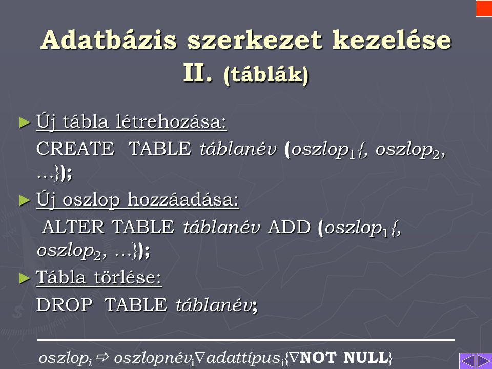 Adatbázis szerkezet kezelése I. ► adatbázis létrehozása: CREATE DATABASE adatbázisnév ; ► adatbázis megnyitása: {START} DATABASE adatbázisnév ; ► adat
