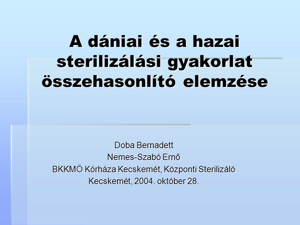 A dániai és a hazai sterilizálási gyakorlat összehasonlító elemzése Doba Bernadett Nemes-Szabó Ernő BKKMÖ Kórháza Kecskemét, Központi Sterilizáló Kecs