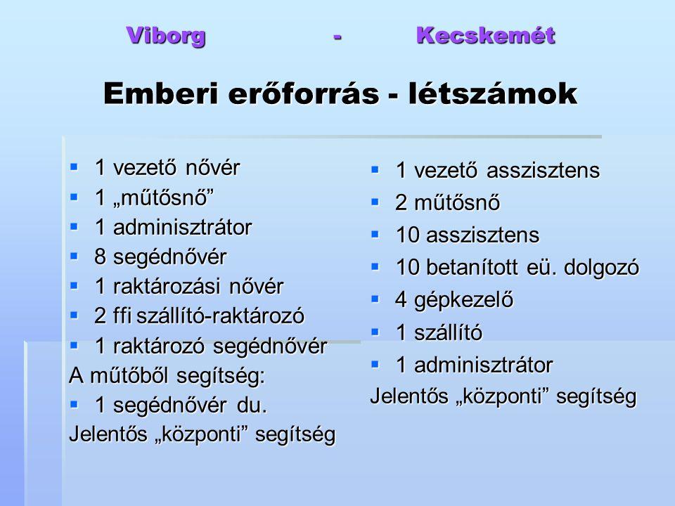 """Viborg - Kecskemét Emberi erőforrás - létszámok  1 vezető nővér  1 """"műtősnő""""  1 adminisztrátor  8 segédnővér  1 raktározási nővér  2 ffi szállít"""