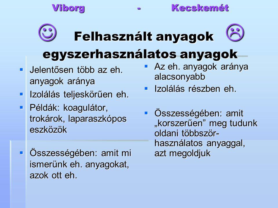Viborg - Kecskemét Felhasznált anyagok  egyszerhasználatos anyagok  Jelentősen több az eh. anyagok aránya  Izolálás teljeskörűen eh.  Példák: koag