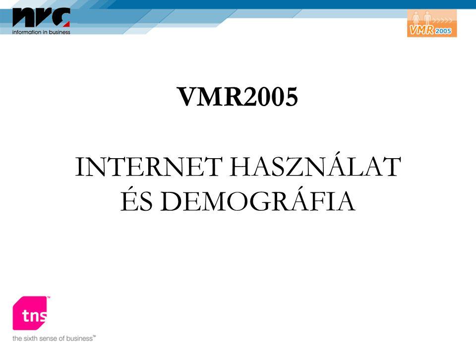 VMR2005 INTERNET HASZNÁLAT ÉS DEMOGRÁFIA