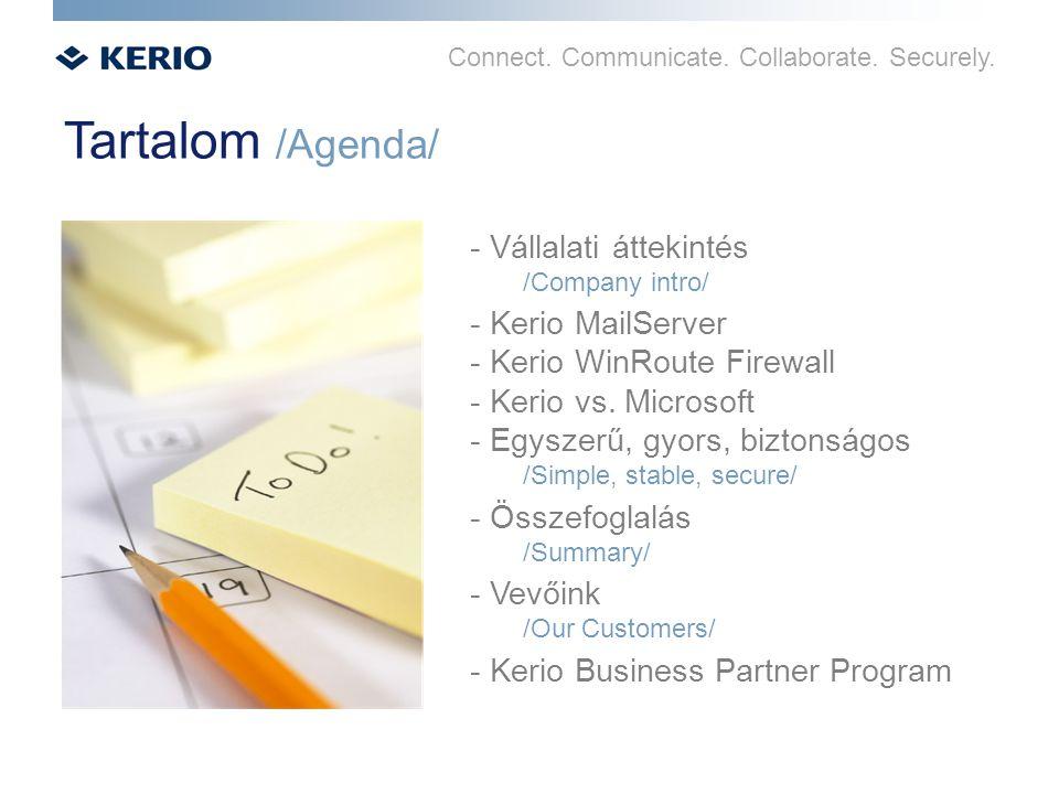 Connect. Communicate. Collaborate. Securely. Tartalom /Agenda/ - Vállalati áttekintés /Company intro/ - Kerio MailServer - Kerio WinRoute Firewall - K