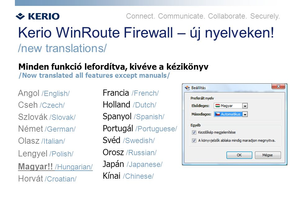 Connect.Communicate. Collaborate. Securely. Kerio WinRoute Firewall – új nyelveken.