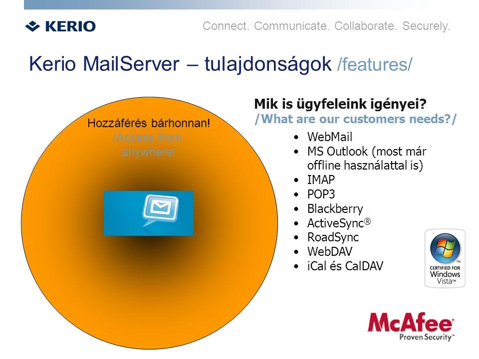 Connect. Communicate. Collaborate. Securely. Kerio MailServer – tulajdonságok /features/ Hozzáférés bárhonnan! /Access from anywhere/ Mik is ügyfelein