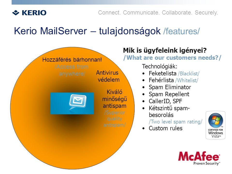 Connect. Communicate. Collaborate. Securely. Kerio MailServer – tulajdonságok /features/ Hozzáférés bárhonnan! /Access from anywhere/ Antivirus védele
