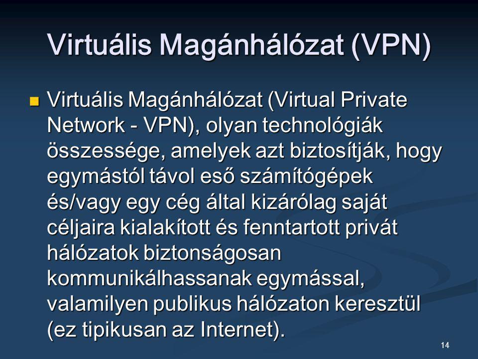 14 Virtuális Magánhálózat (VPN) Virtuális Magánhálózat (Virtual Private Network - VPN), olyan technológiák összessége, amelyek azt biztosítják, hogy e