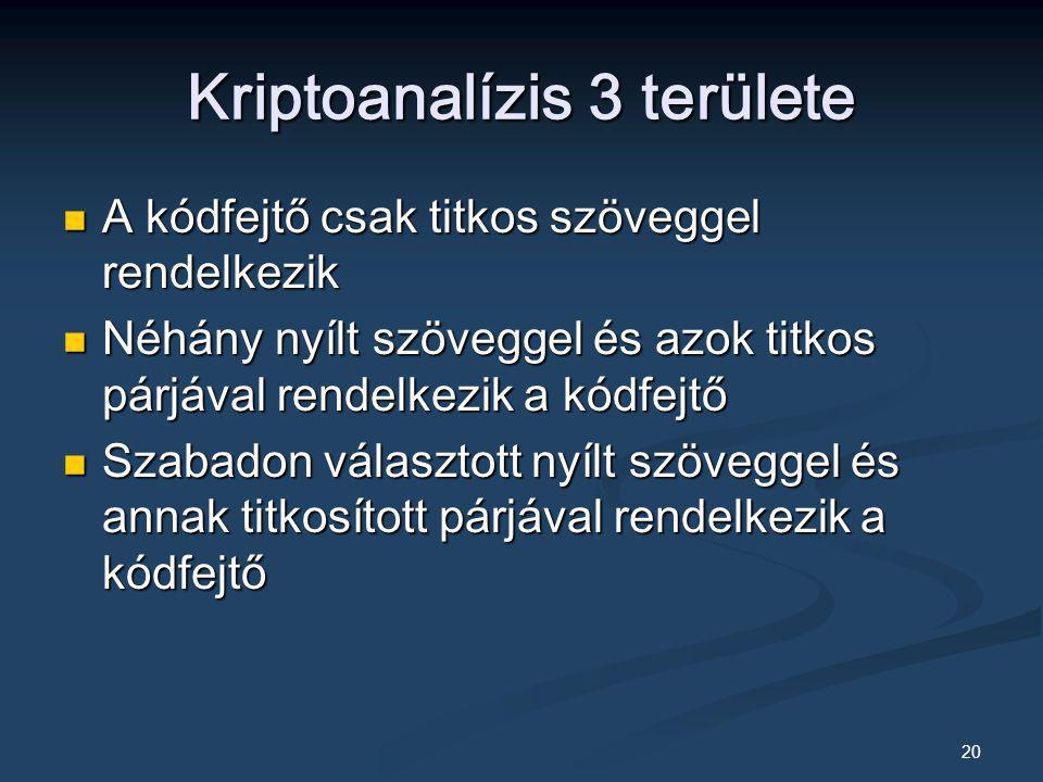 20 Kriptoanalízis 3 területe A kódfejtő csak titkos szöveggel rendelkezik A kódfejtő csak titkos szöveggel rendelkezik Néhány nyílt szöveggel és azok