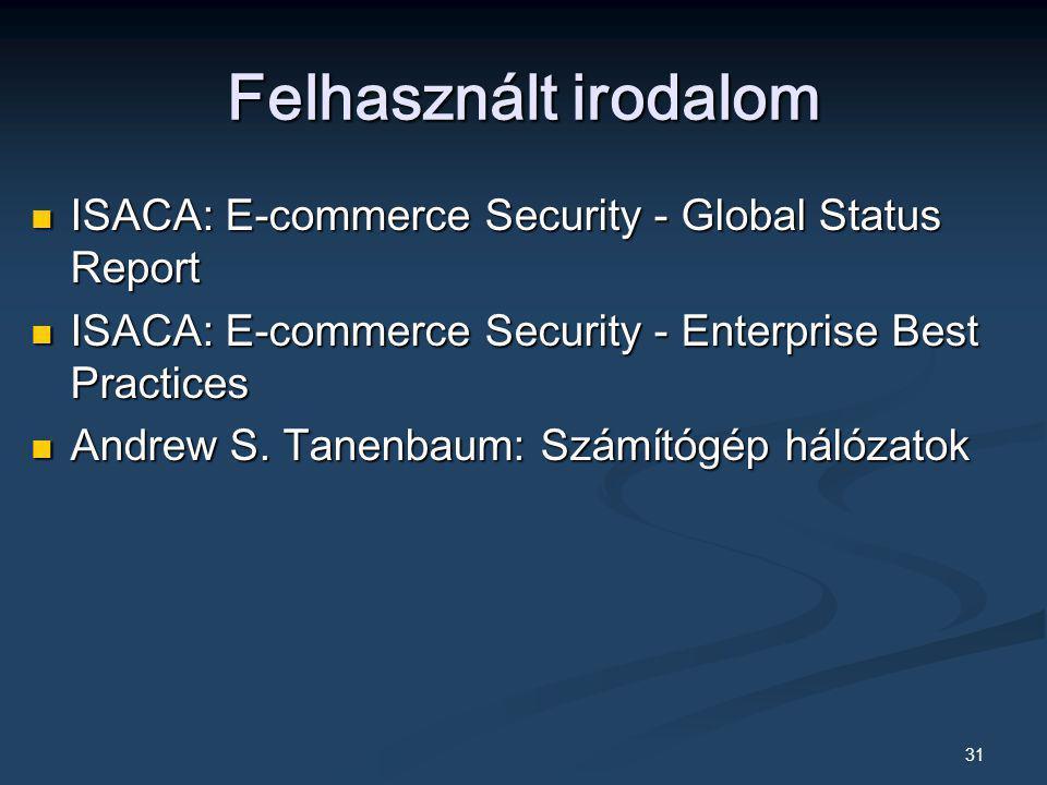 31 Felhasznált irodalom ISACA: E-commerce Security - Global Status Report ISACA: E-commerce Security - Global Status Report ISACA: E-commerce Security