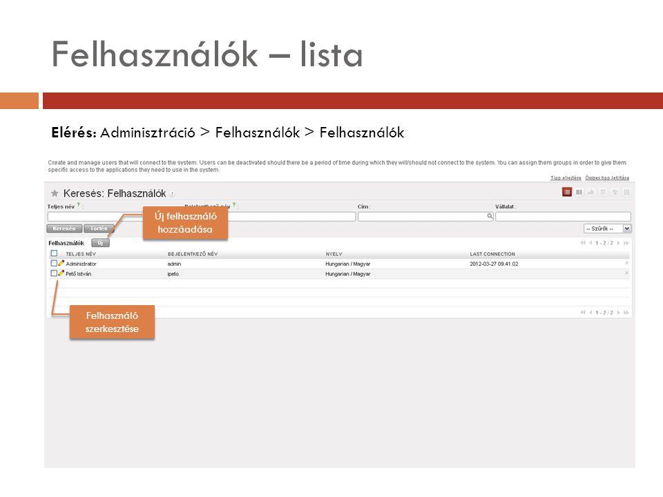 Felhasználók – lista Elérés: Adminisztráció > Felhasználók > Felhasználók Felhasználó szerkesztése Új felhasználó hozzáadása