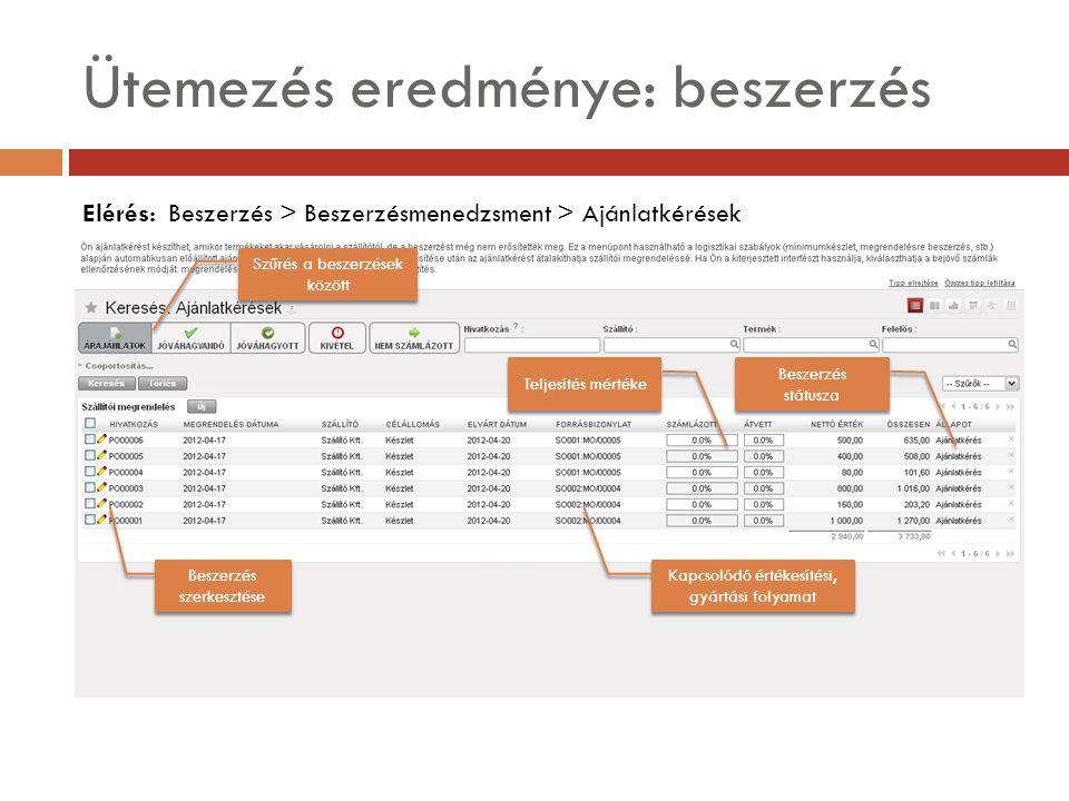 Ütemezés eredménye: beszerzés Elérés: Beszerzés > Beszerzésmenedzsment > Ajánlatkérések Beszerzés státusza Kapcsolódó értékesítési, gyártási folyamat Beszerzés szerkesztése Teljesítés mértéke Szűrés a beszerzések között