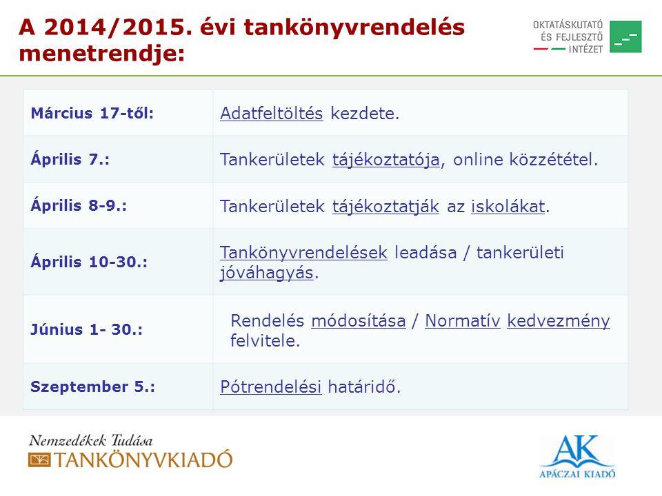 A 2014/2015. évi tankönyvrendelés menetrendje: Március 17-től: Adatfeltöltés kezdete. Április 7.: Tankerületek tájékoztatója, online közzététel. Ápril