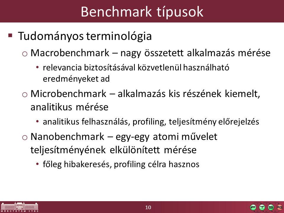 10 Benchmark típusok  Tudományos terminológia o Macrobenchmark – nagy összetett alkalmazás mérése relevancia biztosításával közvetlenül használható eredményeket ad o Microbenchmark – alkalmazás kis részének kiemelt, analitikus mérése analitikus felhasználás, profiling, teljesítmény előrejelzés o Nanobenchmark – egy-egy atomi művelet teljesítményének elkülönített mérése főleg hibakeresés, profiling célra hasznos
