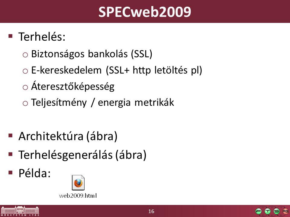 16 SPECweb2009  Terhelés: o Biztonságos bankolás (SSL) o E-kereskedelem (SSL+ http letöltés pl) o Áteresztőképesség o Teljesítmény / energia metrikák  Architektúra (ábra)  Terhelésgenerálás (ábra)  Példa:
